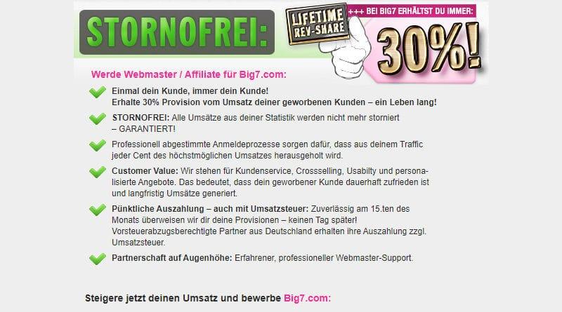 Als Webmaster / Affiliate / Webseitenbetreiber Geld verdienen mit Big7.com
